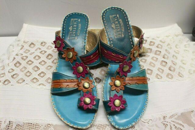 Spring Step L'Artiste Floral Block Heel Toe Ring Sandals Shoes Womens 40 / 9 EUC