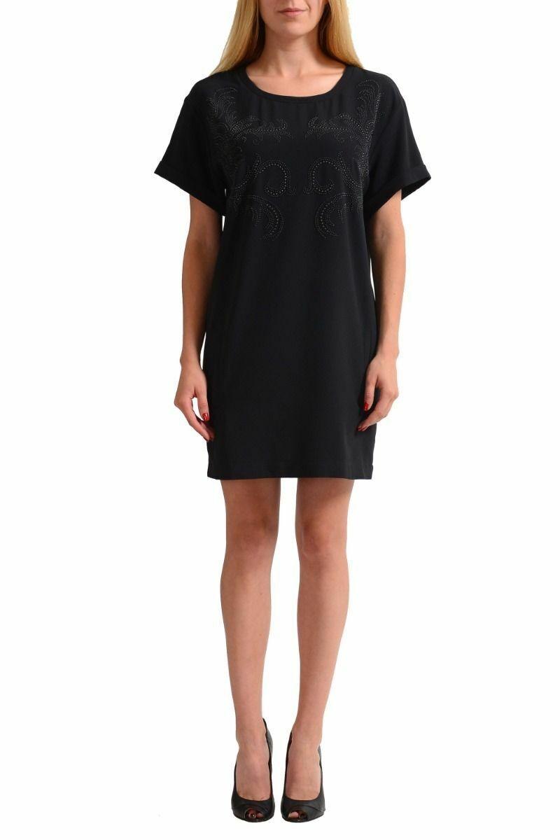 Versace Jeans Negro  Cuentas Decoradas Vestido Recto De Mujer Talle Xs S L XL 2XL  en linea
