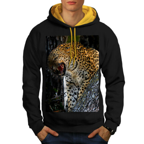 Leopard Hood Men Contrast gold Photo Animal Wild New Black Hoodie zwHzO
