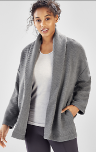 BNWT FABLETICS Vanessa Quilted Long Cardigan Mid Grey Size L RRP
