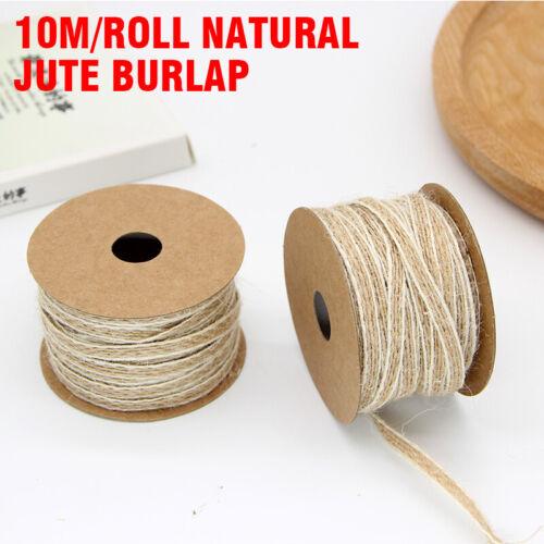 10m//Roll Natural Jute Hemp Ribbon Twine Rope String DIY Craft Burlap Wrapping