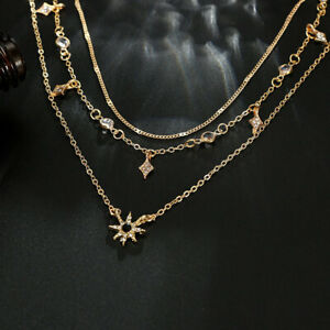 Fashion-Multilayer-Gold-Chain-Choker-Necklace-Women-Jewelry-Star-Crystal-Pendant