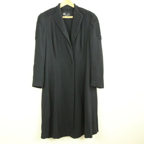 Vintage 40s Womens Coat Black Swing Fit and Flare