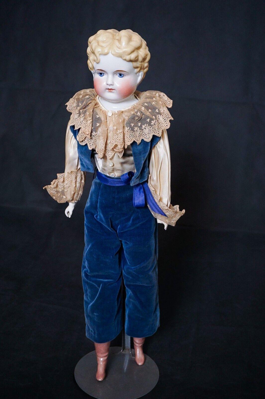 Muñeca Biscuit Boy Antiguo Alemán 22  1860 1870 Cabello Rubio ojos azules Envío Gratis