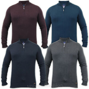 Mens-Jumper-Threadbare-Knitted-Top-Sweater-Pullover-Funnel-Cotton-Zip-Winter-New