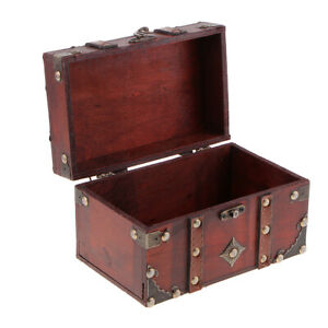 Vintage-Wooden-Jewelry-Storage-Case-Treasure-Chest-Box-Home-Table-Decor-A