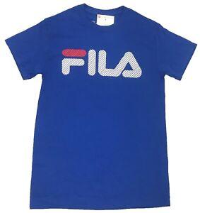 Fila-Royal-Blue-Logo-Striped-Printed-T-Shirt