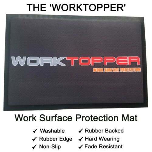 The /'WORKTOPPER/' 3 Sizes Available Rubber Backed Work Surface Protection Mat