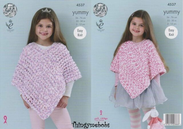 King Cole Yummy Knitting Pattern 4537 Easy Knit Ponchos