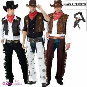 Adult Mens Cowboy Chaps Waistcoat Hat Western Wild West Fancy Dress Costume
