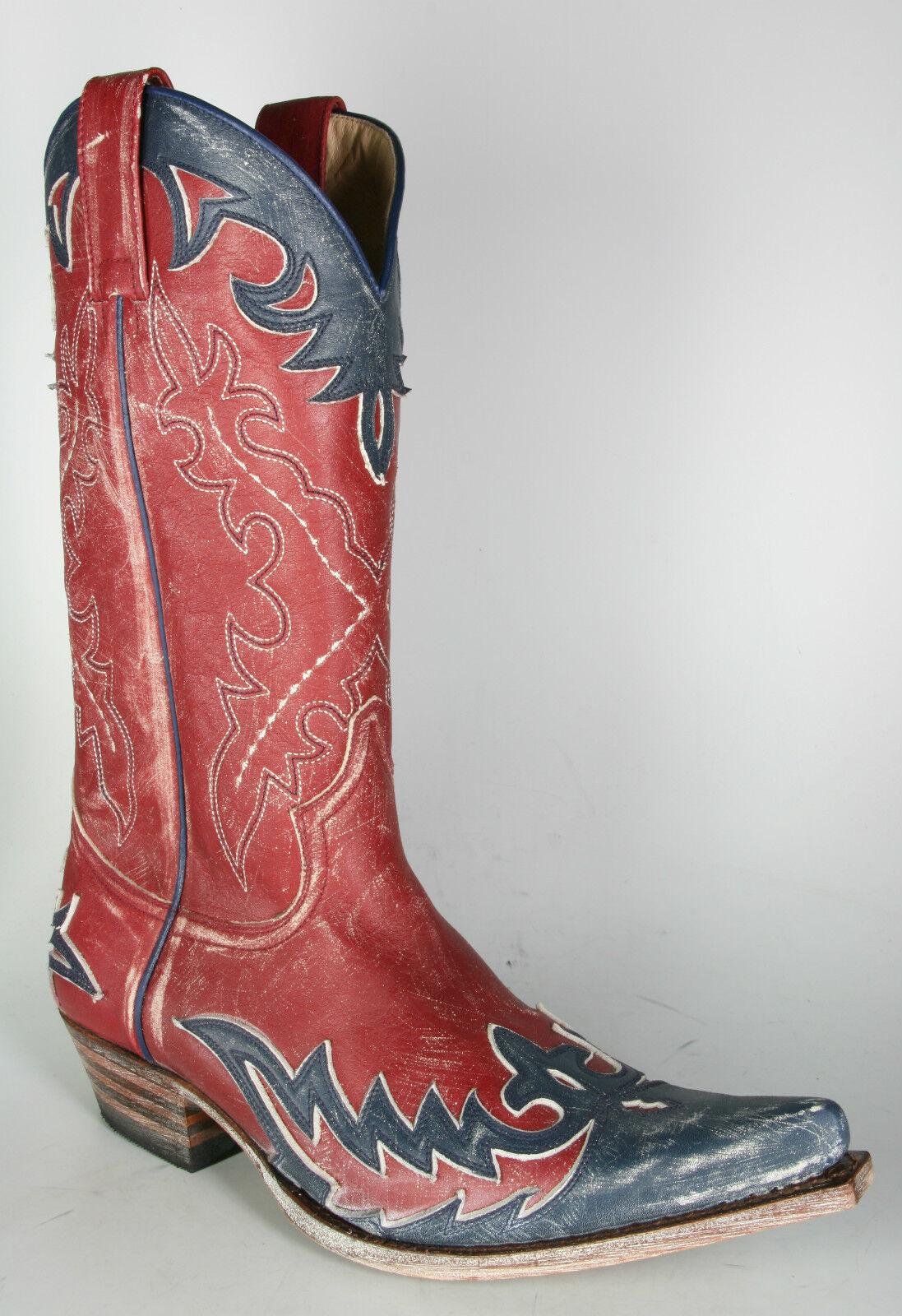 9669 sendra bottes Bottes De Cowboy bleu rouge vintage cadre cousue Bottes en cuir