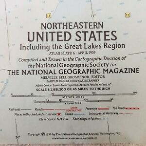 Details about Vintage 1959 National Geographic Map of Northeastern United  States + Great Lakes
