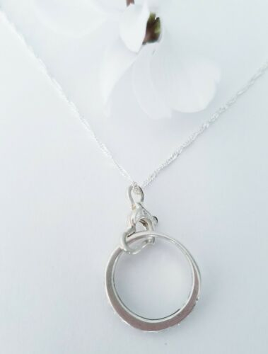 Petit Coeur Avec Zircon Cubique Bague De Mariage Support Collier