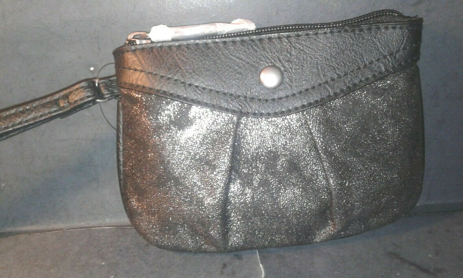 Style & Co. Womens Hannah Black Metallic Wristlet Coin Purse Small -NEW WITH TAG