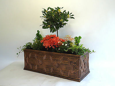 Large Trough Garden Planter Bronze Effect Tudor Style 120 Litre Capacity
