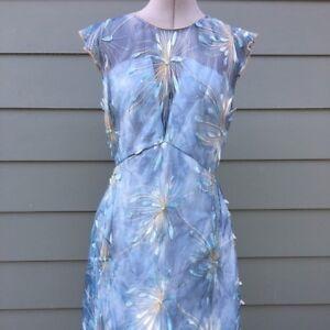 e328609a371a NWT $548 Elie Tahari Olive Floral-Applique Linen Dress size 12 | eBay