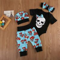 Punk Newborn Infant Baby Girl Outfits Clothes Set Bodysuits Pants Leggings Hat