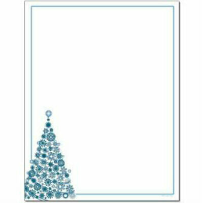 Snowflakes and Ribbons Winter Christmas Letterhead 25 or 100pk