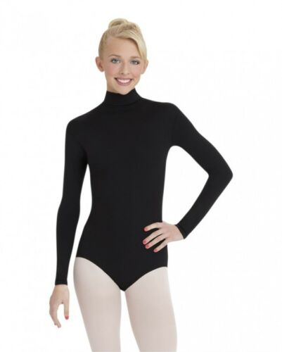 Black lycra long sleeve turtle neck leotard TKN//2 various sizes