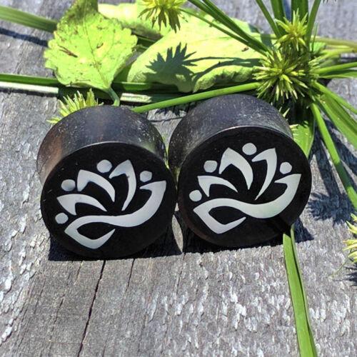 Paire Handmade Organic Bois Nacre Shell lostus Inlay bouchons d/'oreille Boucles d/'oreilles