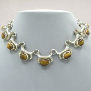Vtg-1980s-Taxco-Mexican-Sterling-Silver-Tiger-s-Eye-138-gram-Necklace