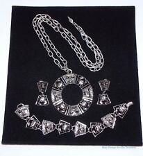 Vintage Costume Jewelry LOT Silver Necklace Bracelet Earrings Set Lot Z1