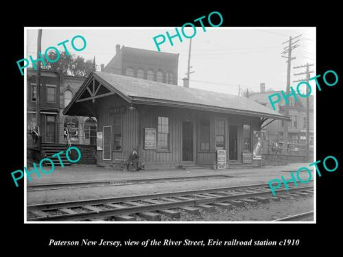 OLD 6 X 4 HISTORIC PHOTO OF PATERSON NEW JERSEY, RIVER RAILROAD STATION c1910 2
