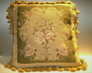VTG-Needlepoint-Petit-Point-Floral-Bouquet-Finished-Velvet-Back-Pillow-17-034-x17-034