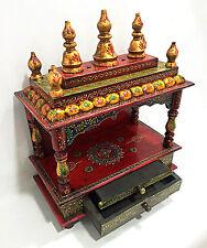 Wooden Hindu Temple Mandir Embossed Painting Pooja Ghar Home Office Art VE765