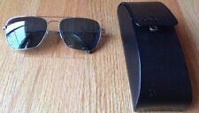 Oliver Peoples Patten 57 Silver Midnight Espresso Polarized Aviator Sunglasses.
