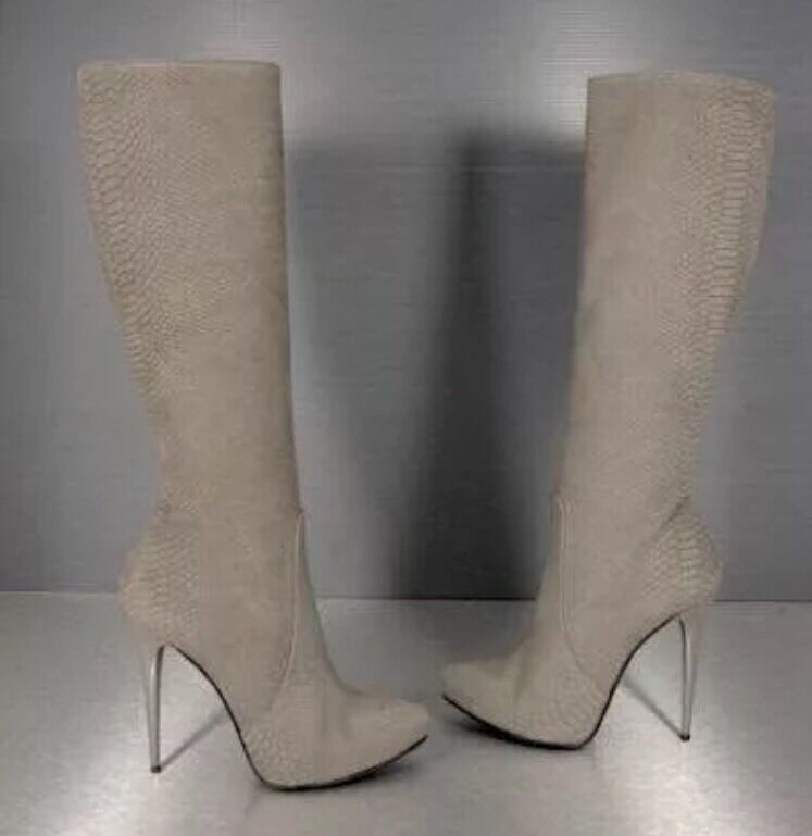 KROKO Optik Plateau Stiefel Leder Wildleder grau 36 Langstiefel Boots Pumps