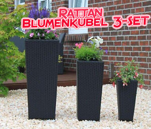 3erset poly rattan kunstrattan pflanzk bel blumenk bel schwarz ebay. Black Bedroom Furniture Sets. Home Design Ideas
