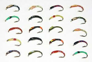 6 Pack Mixed 10//12 Trout flies Gold Head Buzzers Lime UV Buzzers