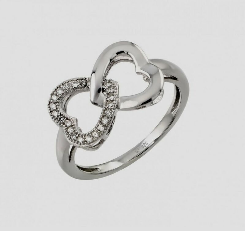 Str00952/ 925 Sterling Silver Ladies Interwhined Heart Design Ring W/ Diamond