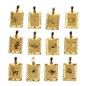 RECTANGLE-PENDANT-Pisces-Libra-Cancer-12-Zodiac-SUN-STAR-SIGN-24K-Gold-Plated-UK