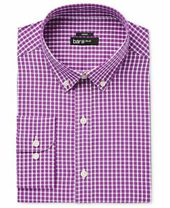 Bar III Men/'s Slim-Fit Stretch Easy-Care Floral Dress Shirt Navy//Pink L /&XL