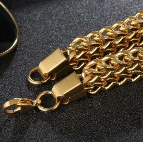 "8.5/"" Mens Stainless Steel 12mm Franco Cuban Link Chain Punk Bracelet #B532"