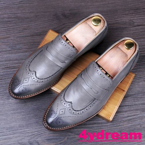 Mens Retro Vintage Wing Tip Slip On loafer Dress Shoes Carved Pointy Toe Shoes
