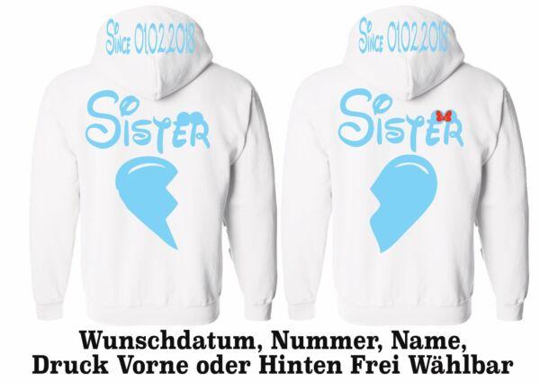 Affidabile Hoodie Sister Sister Motivo Pullover Partner Look Desiderio Nome Xs - 5xl One Love New Le Merci Di Ogni Descrizione Sono Disponibili