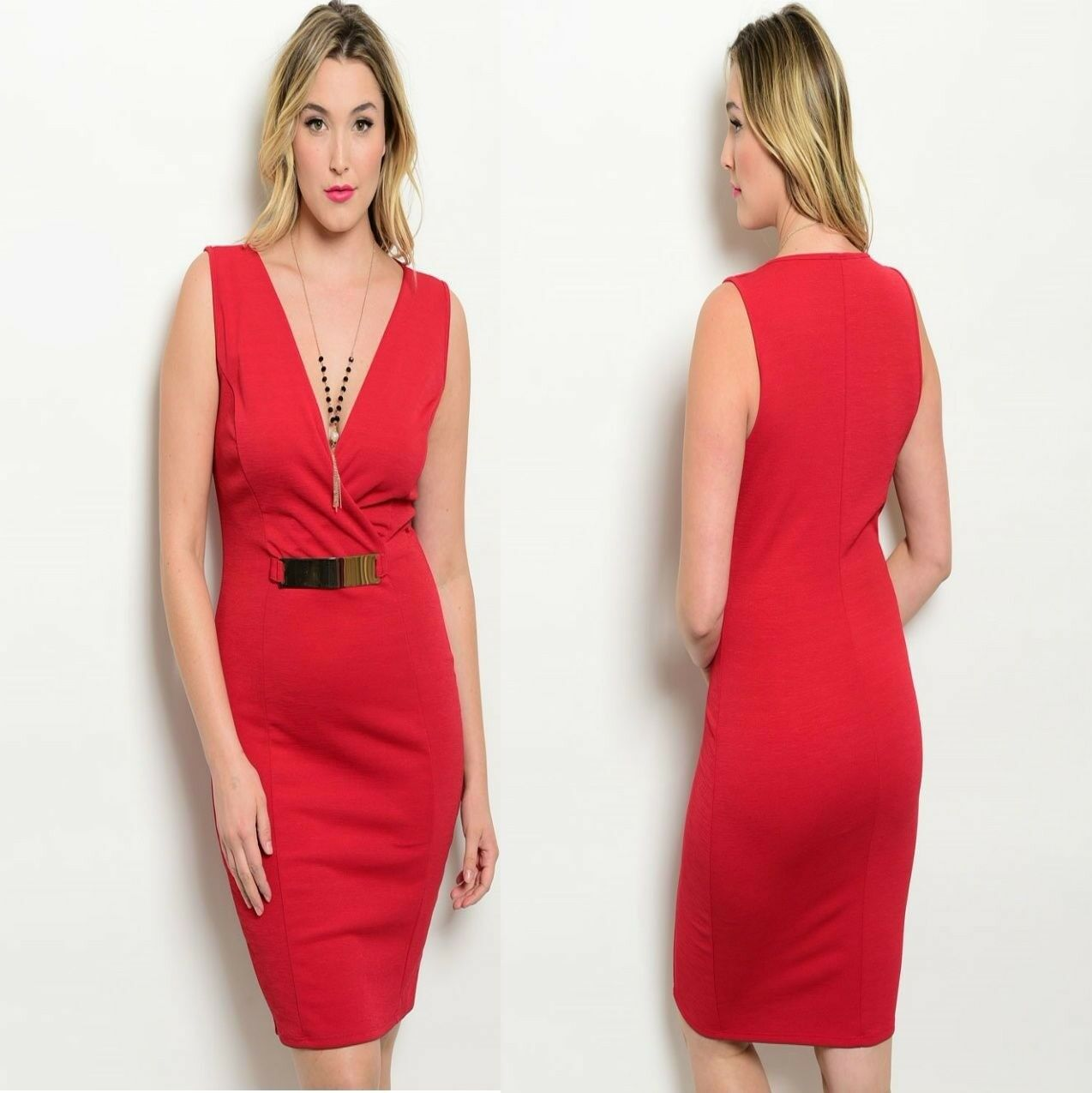 D94 Womens Size 16 18 Red Party Office Work Sleeveless Bodycon Sexy Dress Plus