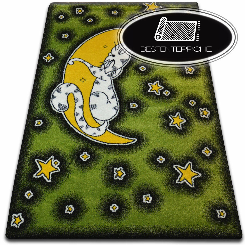 Tapis Doux et D'étanchéité pour Enfants C414 Vert Chats étoile Lune