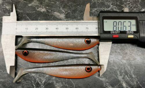 3 Stück 8cm Handmade Holle Baits Rotauge UV Bauch R8 Gummifisch Hecht Zander