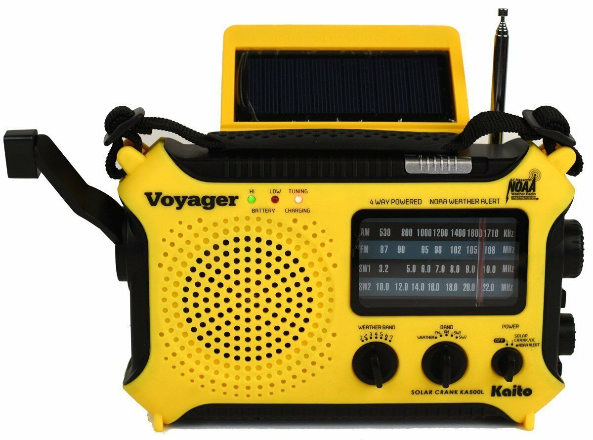 Katio KA500L AM FM Shortwave Dynamo Solar Crank Emergency Weather Radio Yellow