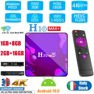 RICEVITORE H10 MAX + SMART TV BOX ANDROID 10.0 2GB + 16GB 4K WIFI NUOVO T8W6