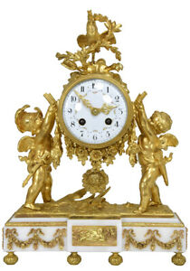 Pendule-Angelots-Kaminuhr-Empire-clock-bronze-horloge-antique-cartel-uhren