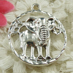 #4643 Free Ship 24 pcs Antique silver elephant charms 31x27mm