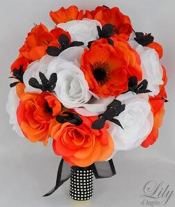 17pcs Wedding Bridal Bouquet Silk Flower Decoration Package Black