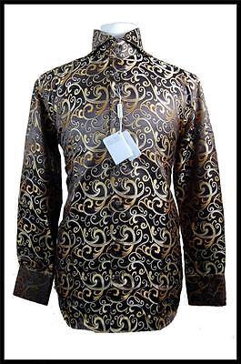 Men's New Daniel Ellissa Fashion Jacquard Paisley Spread Collar Dress Shirt