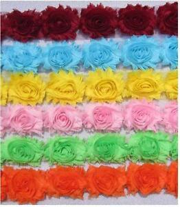 Flower-Lace-Trim-Frayed-Chiffon-Rose-Shabby-Chic-Bridal-Flowers-1-YARD-amp-more