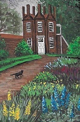 5x7 PRINT OF PAINTING BLACK CAT SPRING EASTER LANDSCAPE FLOWERS RYTA ART GARDEN